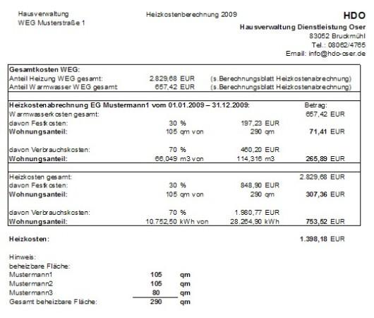 Management Und Logistik Heizkostenabrechnung Vorlage Pdf
